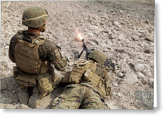 U.s. Marines Provide Suppressive Fire Greeting Card