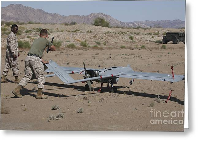 U.s. Marines Recover An Rq-7b Shadow Greeting Card