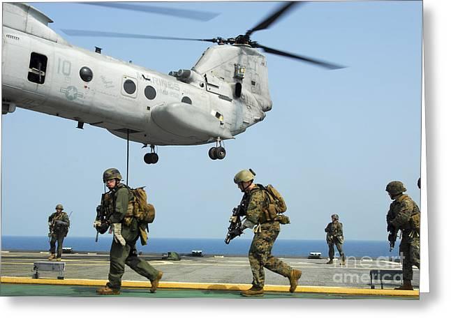 U.s. Marines Run Across The Deck Greeting Card