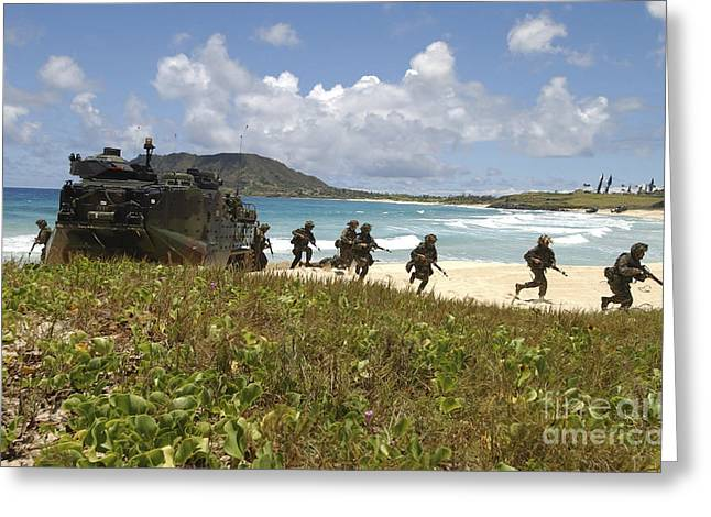 U.s. Marines Run Out Of An Amphibious Greeting Card by Stocktrek Images