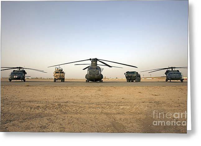 U.s. Military Vehicles And Aircraft Greeting Card by Terry Moore