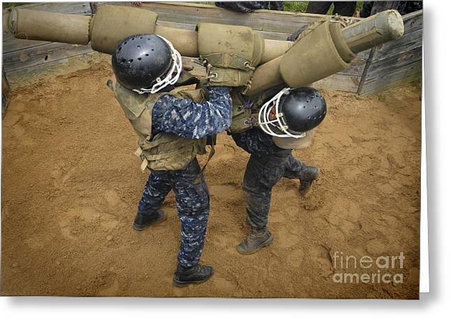 U.s. Naval Academy Plebes Compete Greeting Card by Stocktrek Images