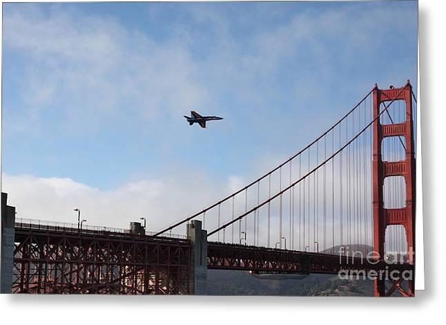 Us Navy Blue Angels Crossing The San Francisco Golden Gate Bridge - 5d18924 Greeting Card