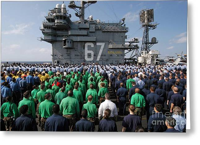 U.s. Navy Sailors Stand At Attention Greeting Card by Stocktrek Images