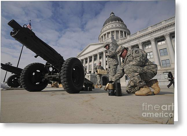U.s. Soldiers Clean Up After Firing Greeting Card by Stocktrek Images