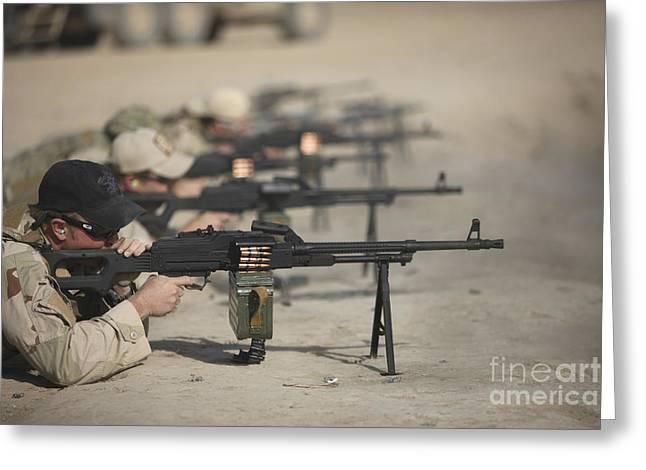 U.s. Soldiers Firing Pk 7.62 Mm Greeting Card