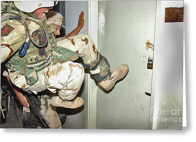 Us Soldiers Secure One Greeting Card by Stocktrek Images