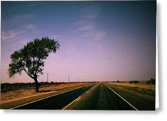 #usa #america #road #tree #sky Greeting Card by Torbjorn Schei