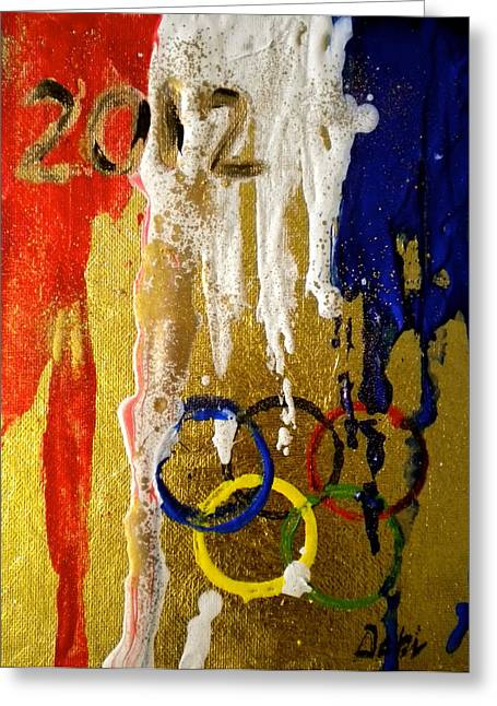 Usa Strives For The Gold Greeting Card by Debi Starr