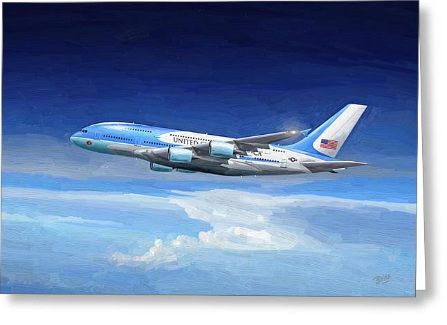 Greeting Card featuring the painting Usaf Airbus A380 Air Force One by Nop Briex
