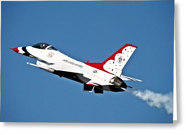 Usaf Thunderbird F-16 Greeting Card by Nick Kloepping