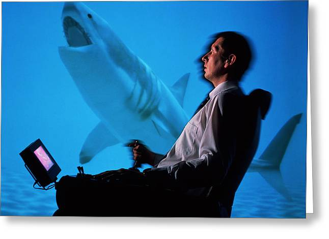 User In Reality Centre Simulator (underwater Set) Greeting Card by David Parker