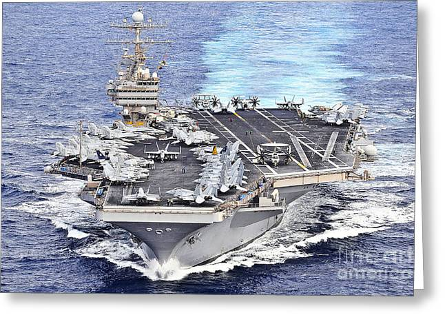 Uss Abraham Lincoln Transits Greeting Card by Stocktrek Images