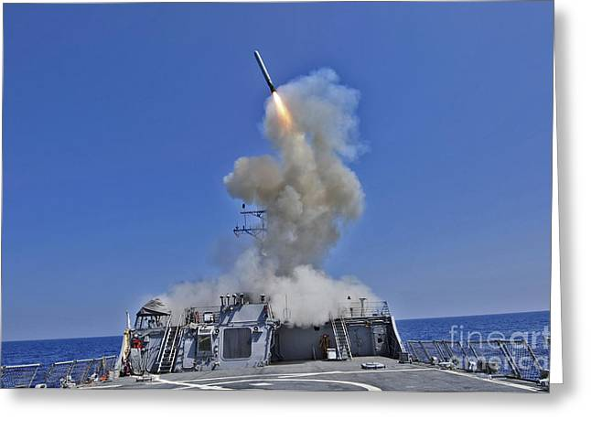 Uss Barry Launches A Tomahawk Cruise Greeting Card
