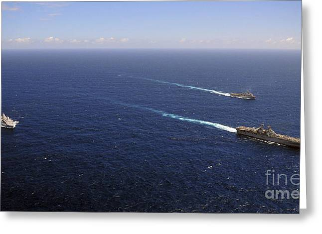 Uss Boxer, Uss Comstock And Uss Green Greeting Card by Stocktrek Images