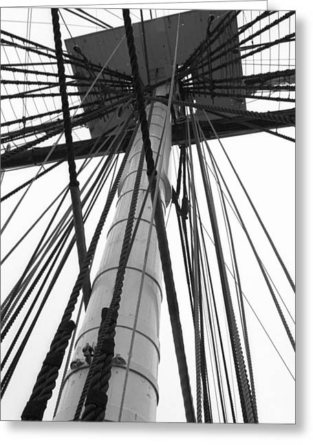 Uss Constitution Mast Greeting Card by David Yunker