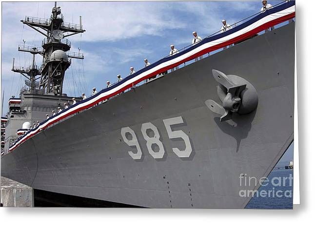 Uss Cushing Is Decommissioned Greeting Card by Stocktrek Images