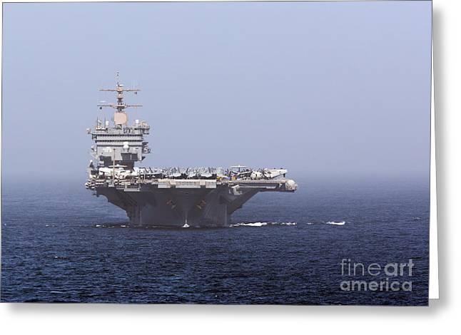 Uss Enterprise In The Arabian Sea Greeting Card by Gert Kromhout