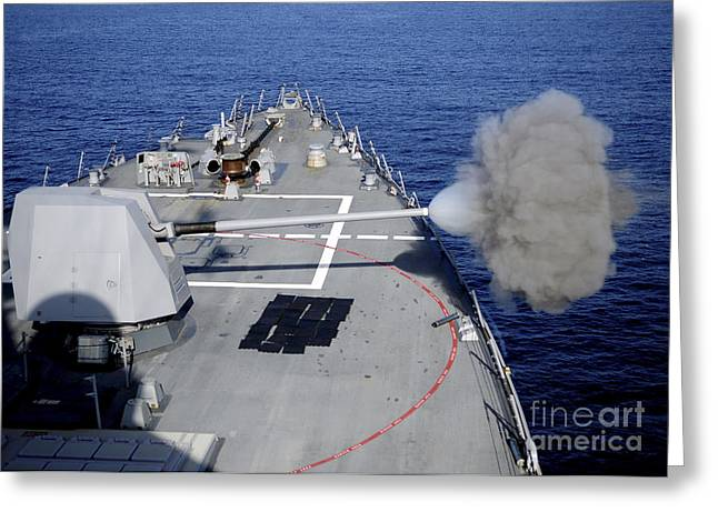 Uss Halsey Fires Its Mk-45 Greeting Card by Stocktrek Images