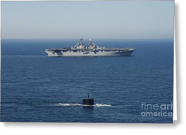 Uss Hampton Transits Alongside Uss Greeting Card by Stocktrek Images