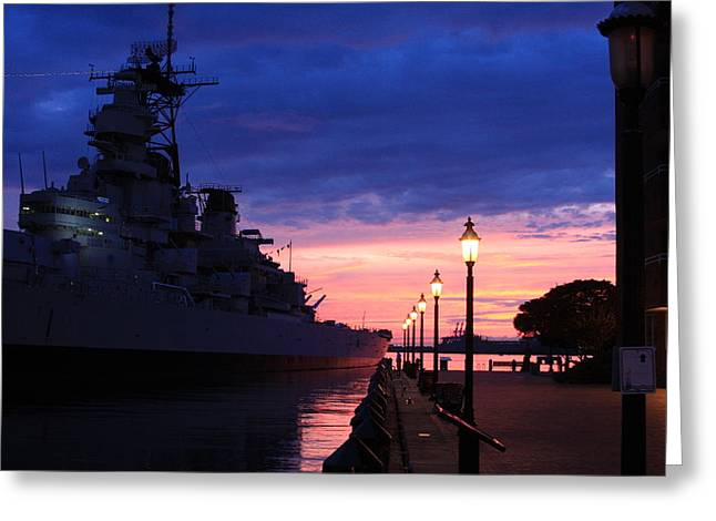 Uss Wisconsin Sunset Greeting Card