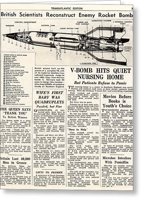V-2 Reconstruction In The Daily Mirror Greeting Card by Detlev Van Ravenswaay