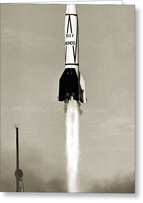 V-2 Rocket Launch In Usa Greeting Card by Detlev Van Ravenswaay