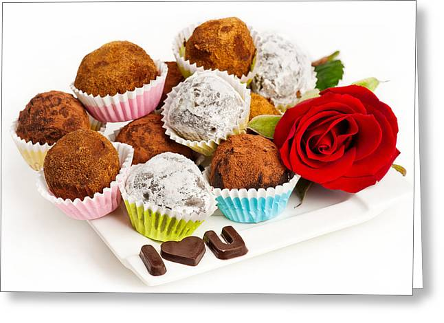 Valentine Chocolate Truffles Greeting Card by Marta Holka