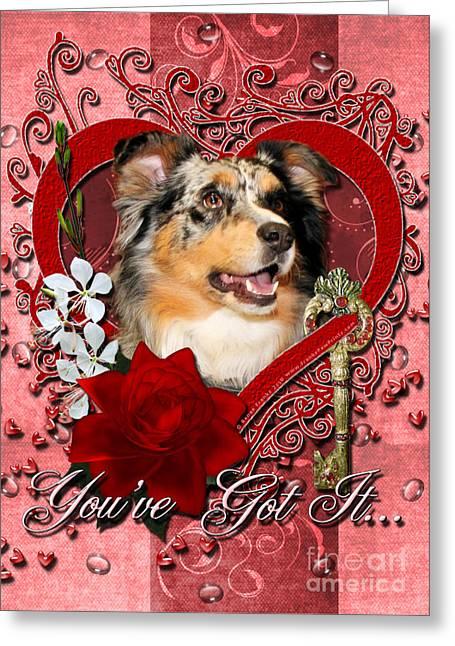 Valentines - Key To My Heart Australian Shepherd Greeting Card