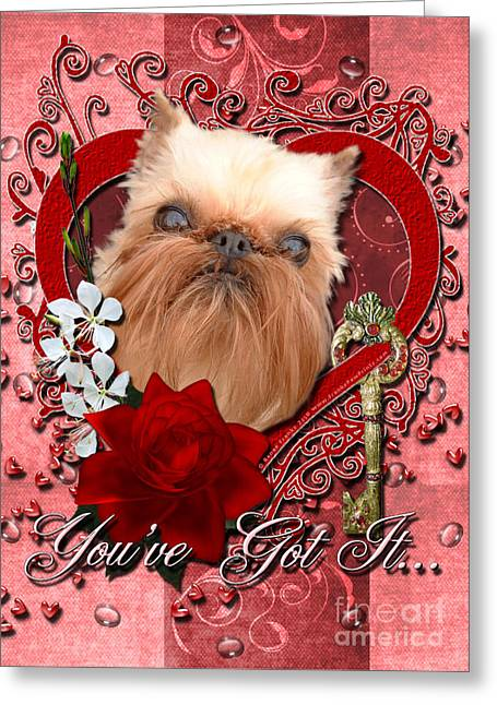 Valentines - Key To My Heart Brussels Griffon Greeting Card by Renae Laughner