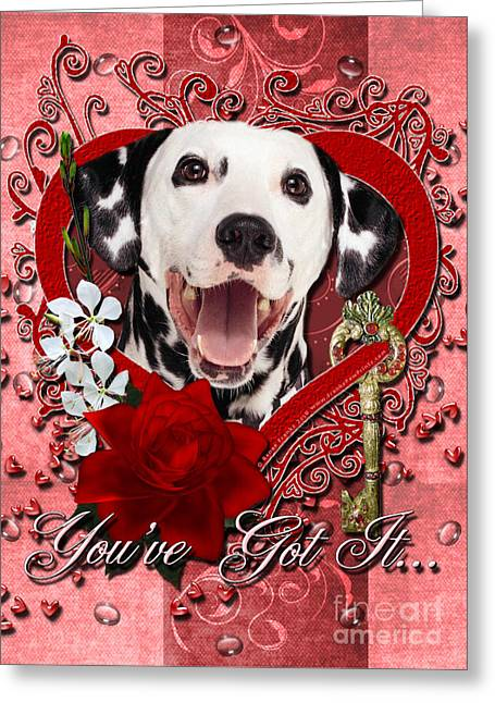 Valentines - Key To My Heart Dalmatian Greeting Card by Renae Laughner
