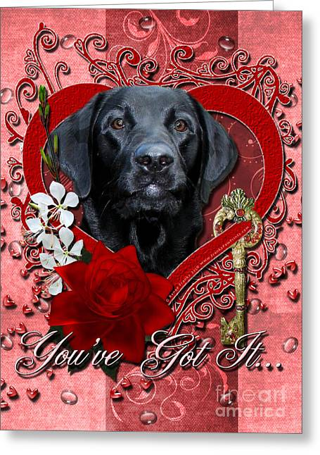 Valentines - Key To My Heart Labrador Greeting Card by Renae Laughner