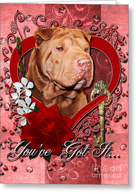 Valentines - Key To My Heart Shar Pei Greeting Card by Renae Laughner