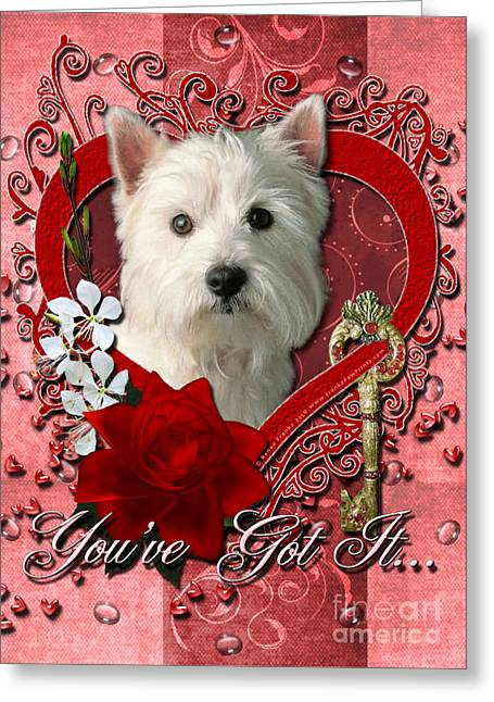 Valentines - Key To My Heart West Highland Terrier Greeting Card by Renae Laughner