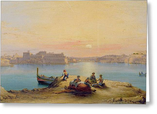 Valetta Harbour At Sunset Greeting Card by Henry Charles Ferro