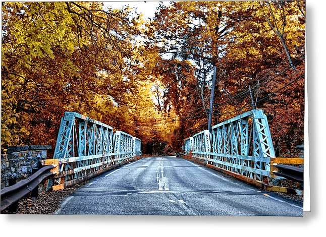 Valley Green Road Bridge In Autumn Greeting Card by Bill Cannon