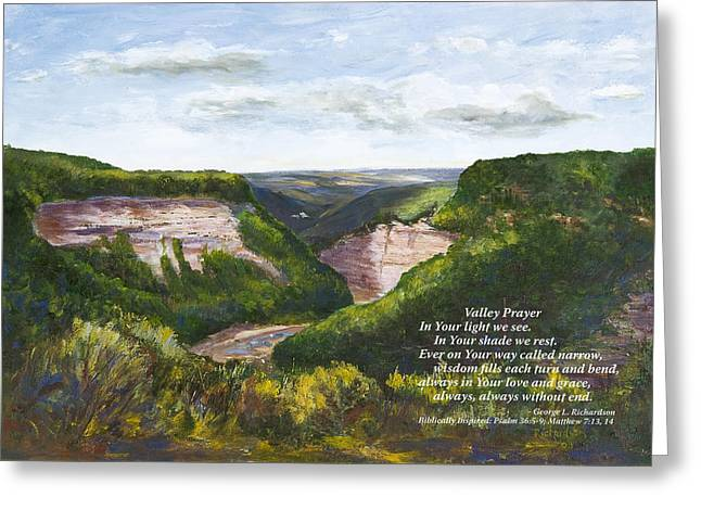 Valley Prayer With Poem Greeting Card by George Richardson