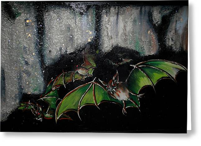 Greeting Card featuring the painting Vampire Bats  by Nada Meeks