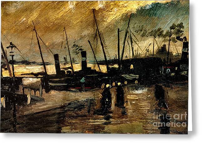 Van Gogh Le Quai Huile Sur Toile 1885  Greeting Card by Pg Reproductions