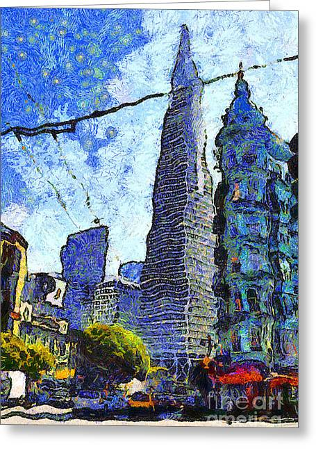 Van Gogh Sips Absinthe And Takes In The Views From North Beach In San Francisco . 7d7431 Greeting Card by Wingsdomain Art and Photography