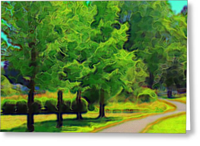 Greeting Card featuring the mixed media Van Gogh Trees by Terence Morrissey
