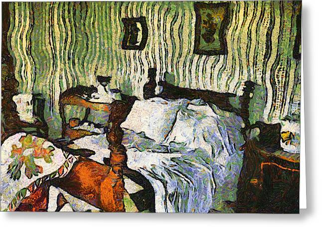 Greeting Card featuring the painting Van Gogh's Bedroom by Mario Carini