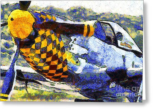 Van Gogh.s P-51 Mustang Fighter Plane . 7d15598 Greeting Card by Wingsdomain Art and Photography