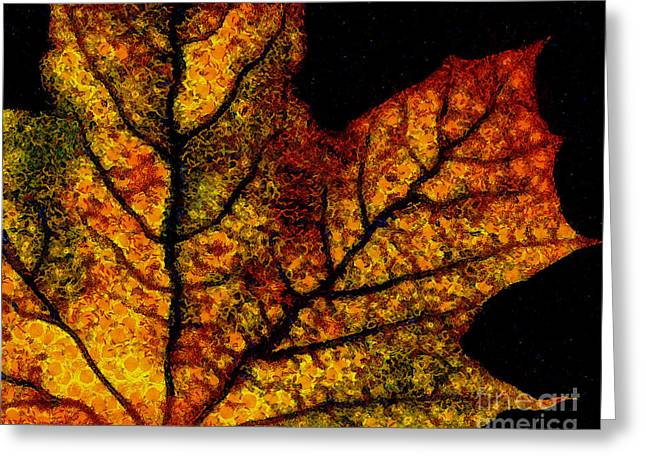 Vangogh's Autumn Maple Leaf Greeting Card by Wingsdomain Art and Photography
