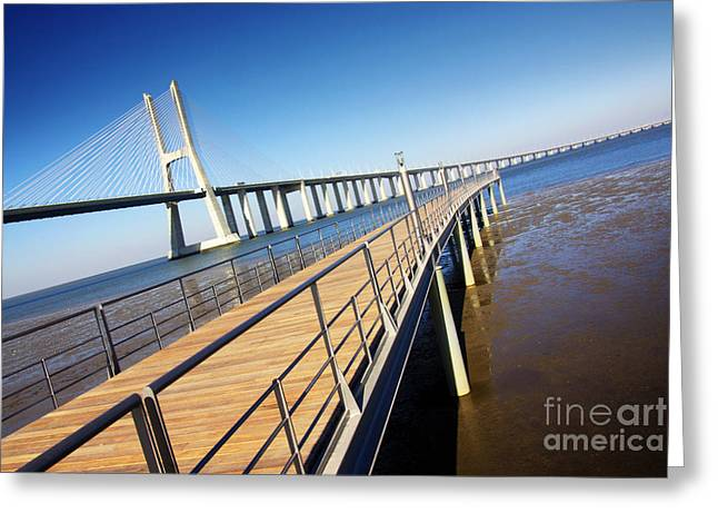 Vasco Da Gama Bridge Greeting Card by Carlos Caetano