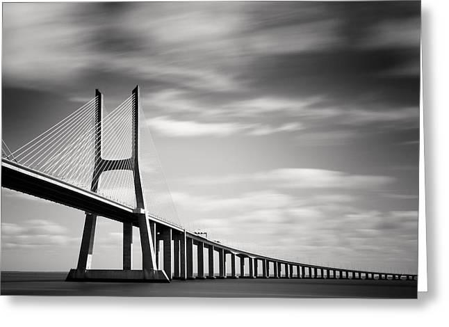 Vasco Da Gama Bridge IIi Greeting Card by Nina Papiorek