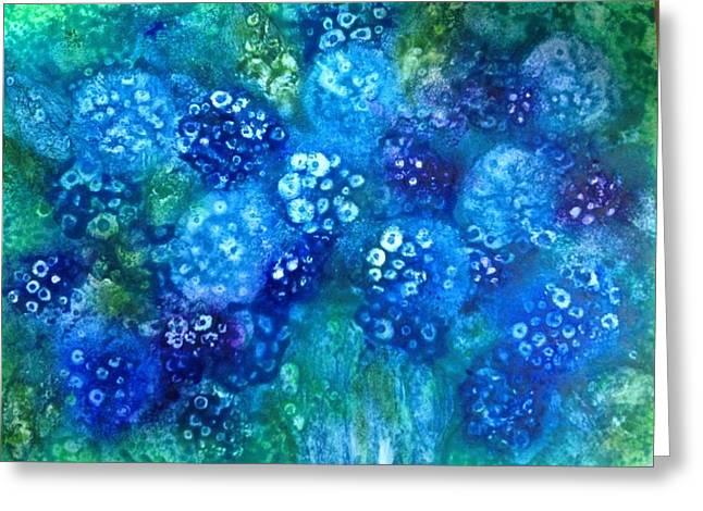 Vase Of Blue Hydrangeas Greeting Card by Kelli Perk