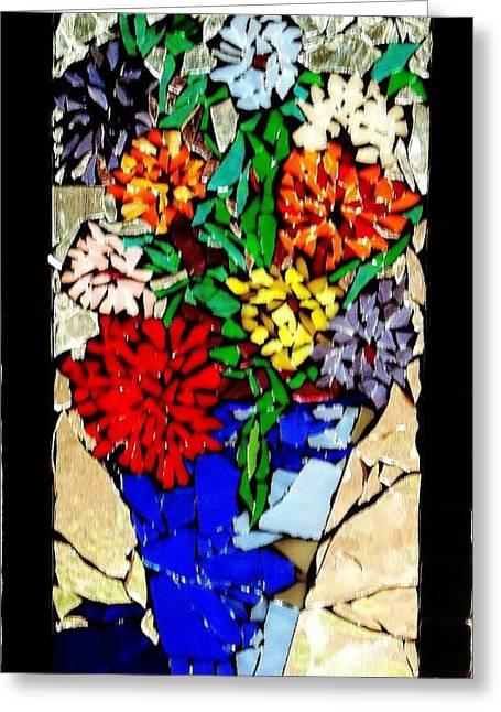 Vase Of Flowers Greeting Card by Brenda Marik-schmidt