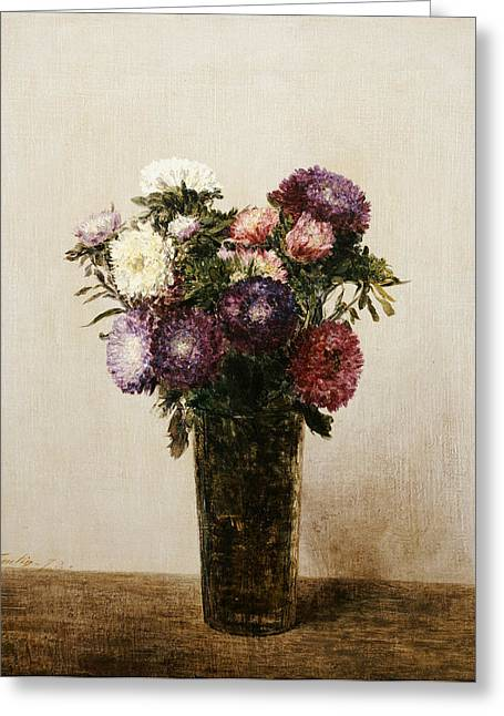 Vase Of Flowers Greeting Card by gnace Henri Jean Fantin-Latour