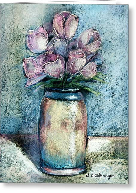 Vase Of Pink Tulips Greeting Card by Arline Wagner